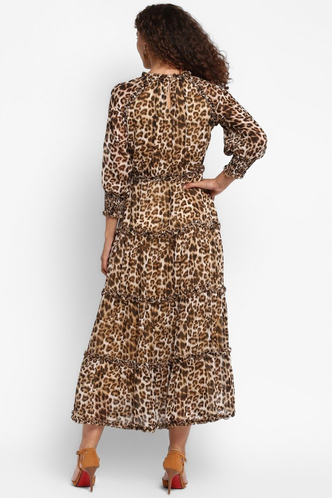 LEOPARDO PRINTED GEORGETTE MIDI LENGTH TIER DRESS WITH 3/4TH LENGTH SLEEVES