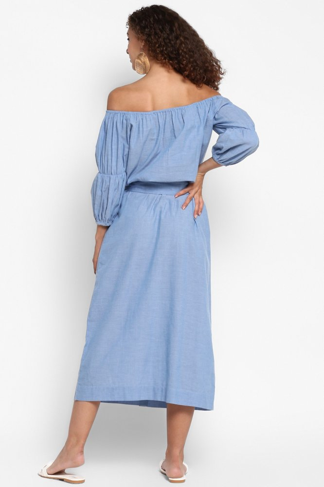 PONDICHERRY BLUE COTTON CHAMBRAY OFF SHOULDER MIDI DRESS WITH SLEEVES AND BELT