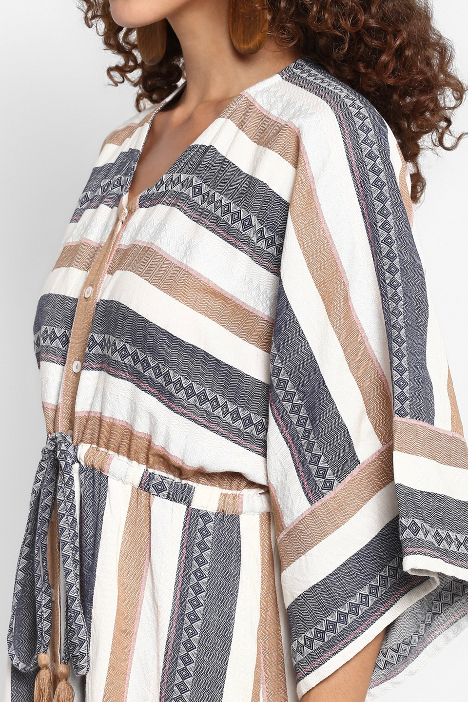 NORAH OFF WHITE COTTON STRIPES ANKLE LENGTH KAFTAN WITH FRONT BUTTON OPENING
