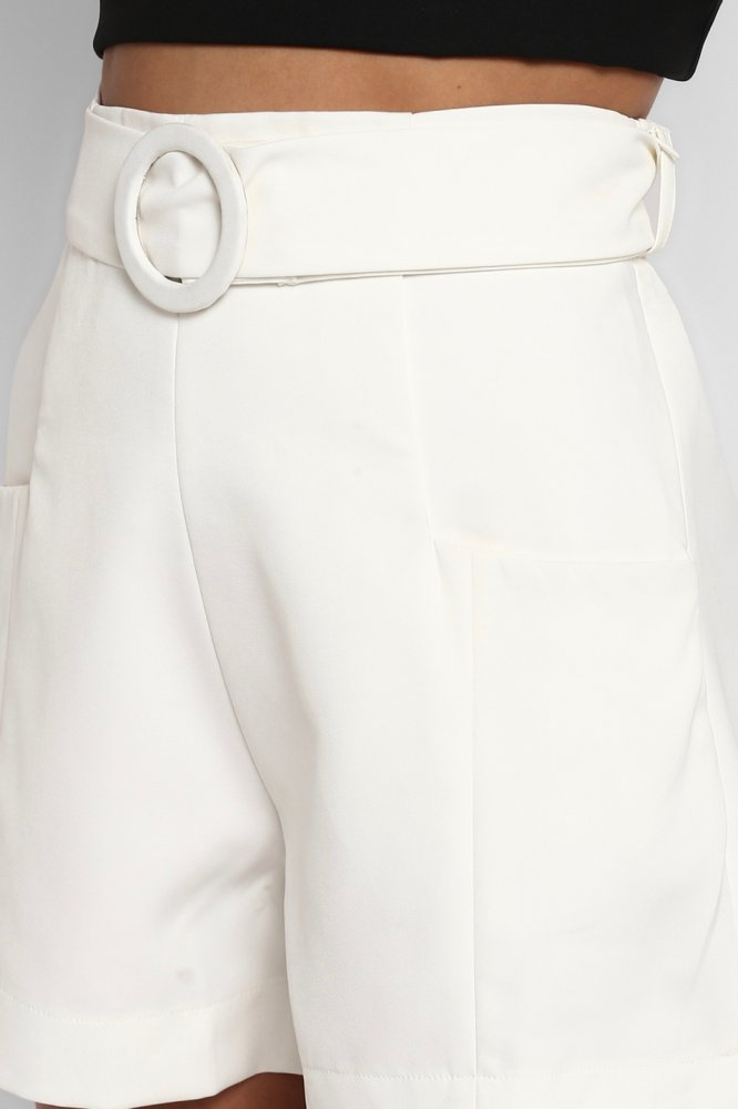 PARIS IVORY COLOUR HIGH WAIST FORMAL SHORTS WITH POCKETS AND BELT