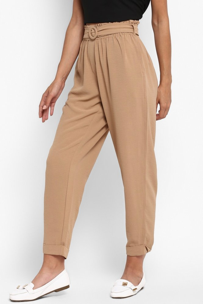 FARAFRA BROWN PAPER BAG ELASTICATED CASUAL CROP PANTS WITH POCKETS AND BELT