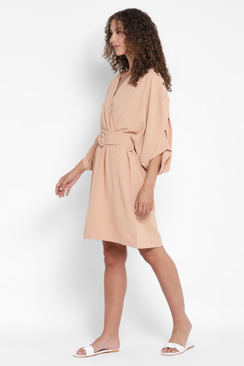 AQUILA SUNKISS KNEE LENGTH V-NECK STRAIGHT BRUNCH DRESS WITH  3/4TH SLEEVES AND BELT