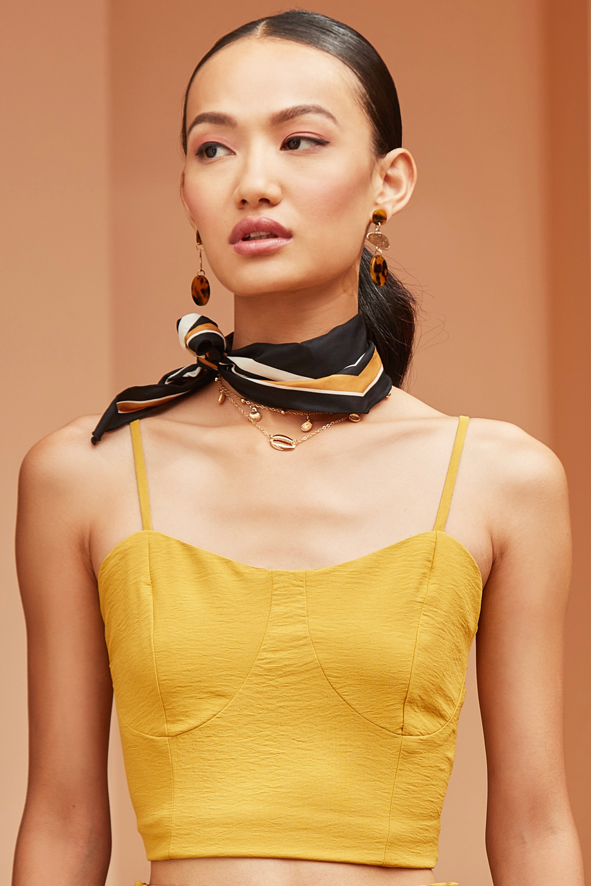 BARCELONA YELLOW  SLEEVELESS CASUAL CROP LENGTH TOP WITH SIDE ZIP OPENING