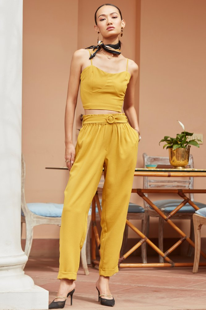 BARCELONA YELLOW PAPER BAG ELASTICATED WAIST CASUAL CROP PANTS WITH POCKETS AND BELT