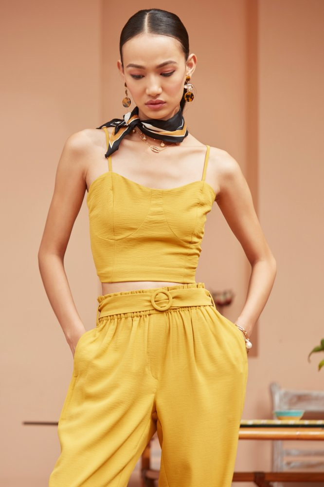 YELLOW CROP TOP AND PANT CASUAL CO-ORDINATE