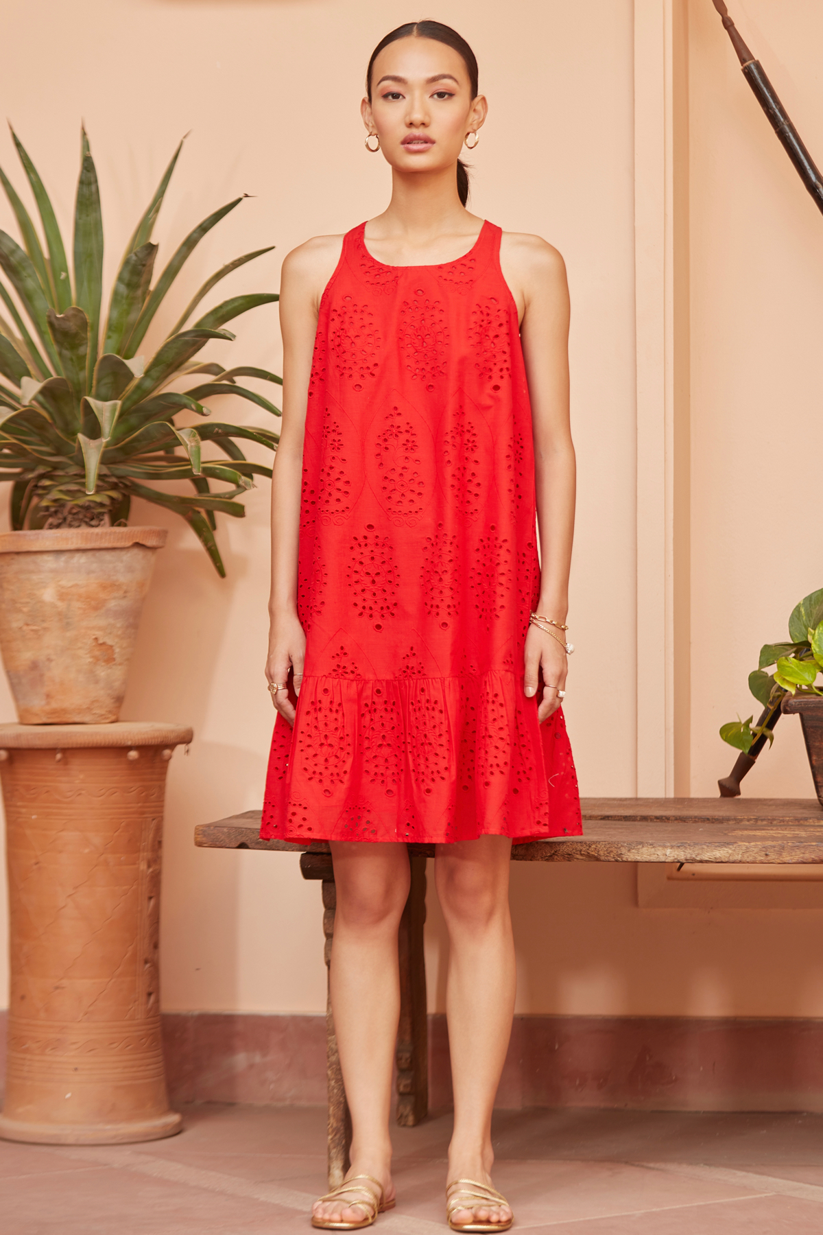 CALANGUTE RED COTTON EMBROIDERED SLEEVELESS KNEE LENGTH A-LINE DRESS