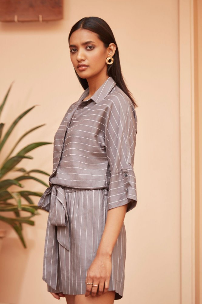 BARCELONA GREY STRIPES SHORT LENGTH JUMPSUIT WITH SLEEVES AND FRONT BUTTON OPENING