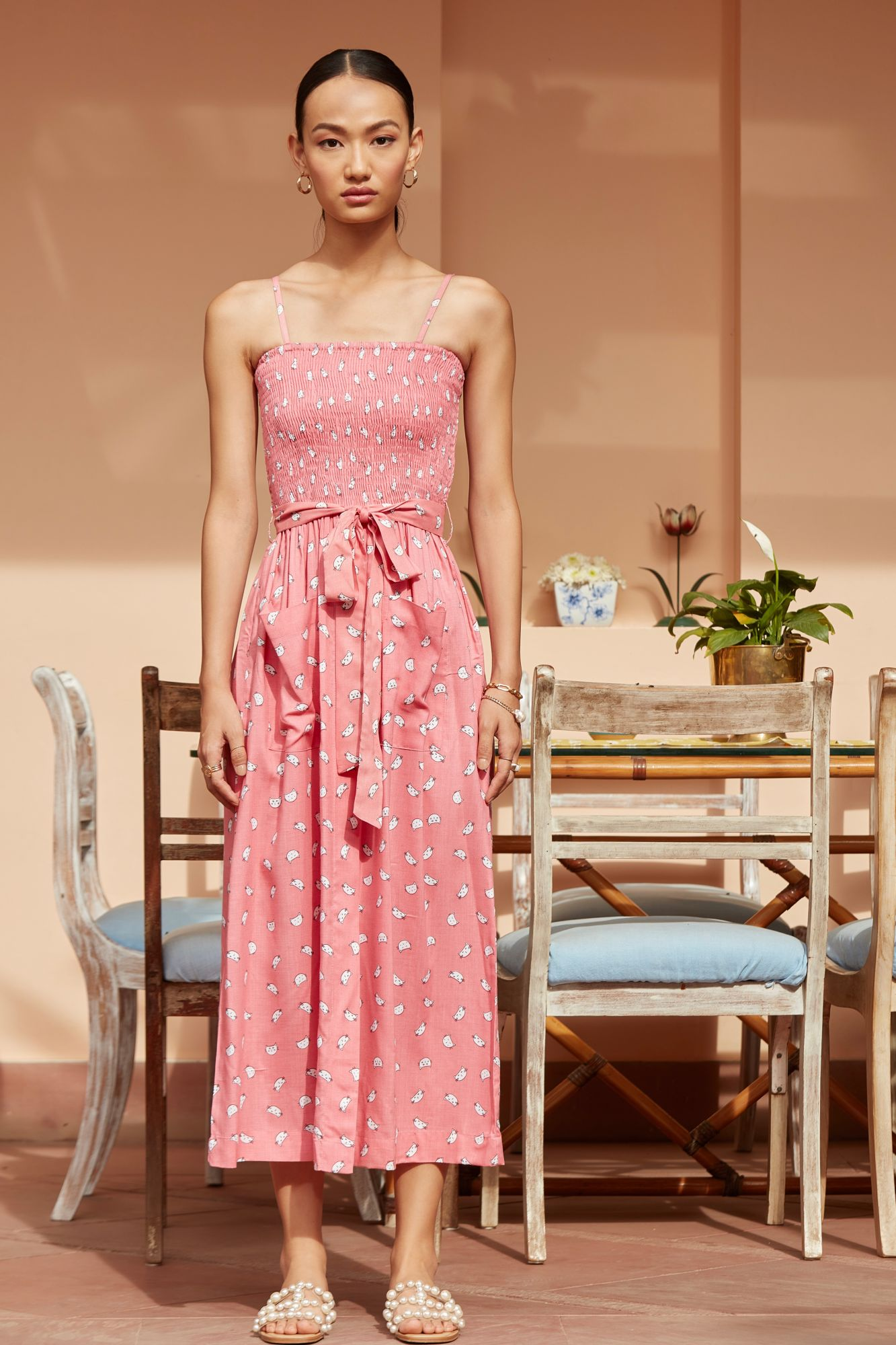 MEO PINK COLOUR ALL OVER PRINT SLEEVLESS RAYON MIDI LENGTH DRESS WITH POCKETS AND BELT