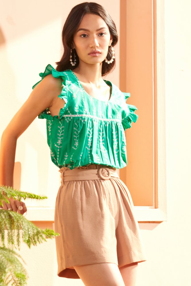 FARAFRA BROWN PAPER BAG ELASTICATED WAIST CASUAL SHORTS WITH POCKETS AND BELT