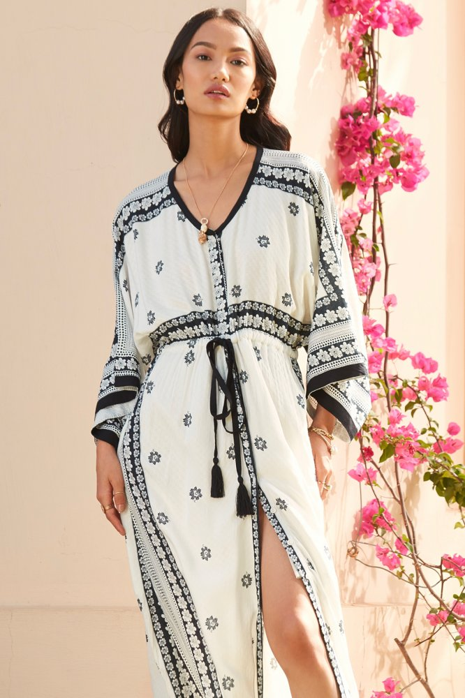 NORAH OFF WHITE RAYON PRINT MAXI LENGTH KAFTAN WITH FRONT BUTTON OPENING