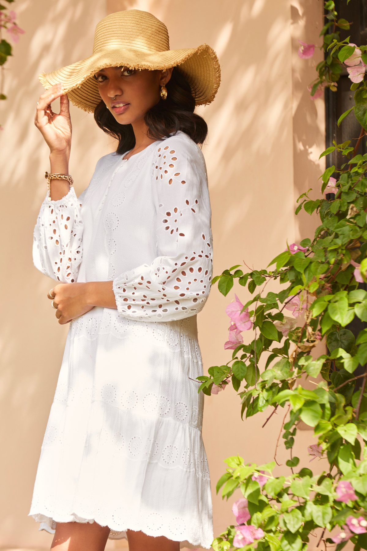 CALANGUTE WHITE COTTON EMBROIDERED KNEE LENGTH BRUNCH DRESS WITH  FULL LENGTH SLEEVES