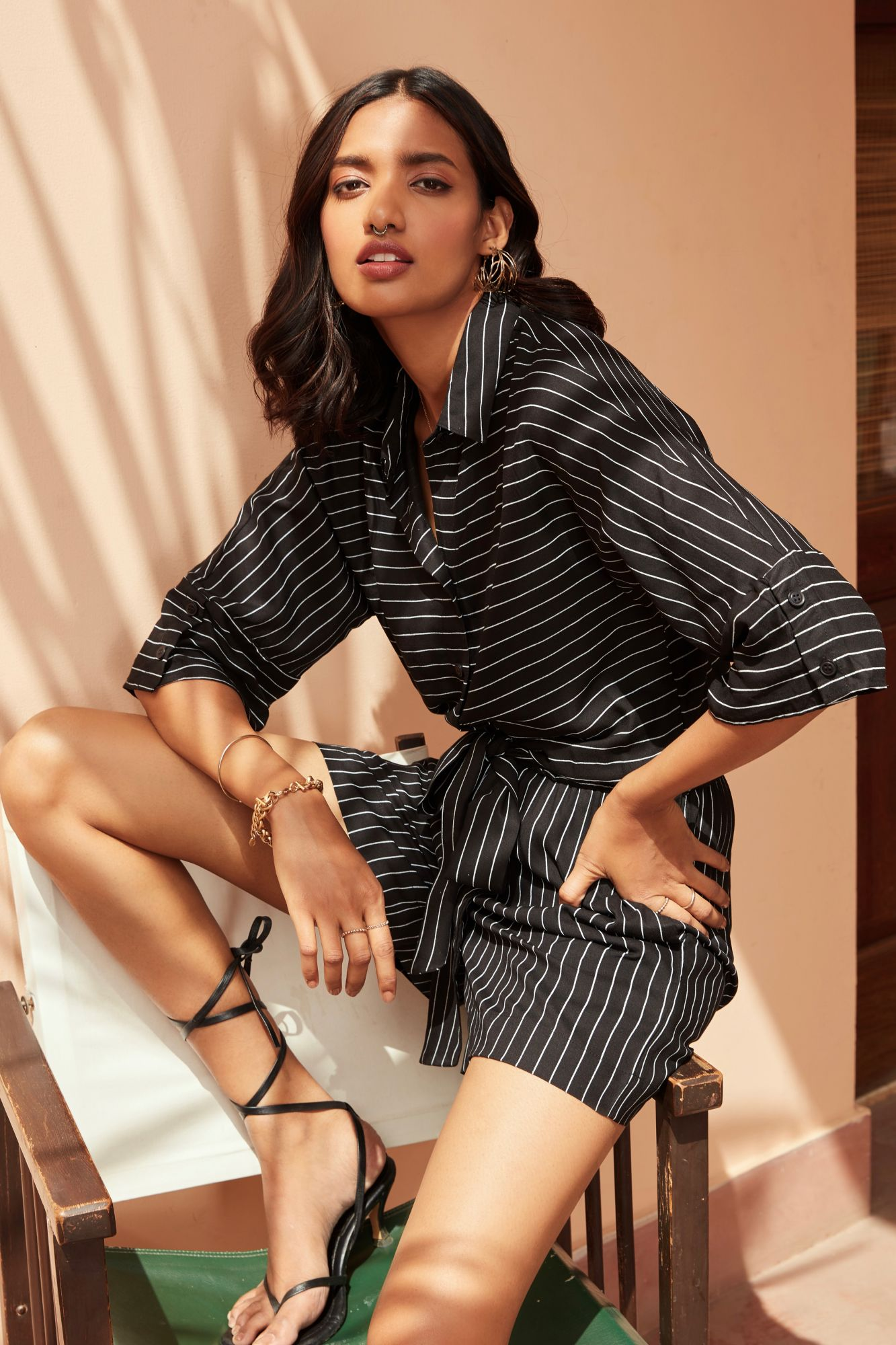 BARCELONA BLACK STRIPES SHORT LENGTH JUMPSUIT WITH SLEEVES AND FRONT BUTTON OPENING