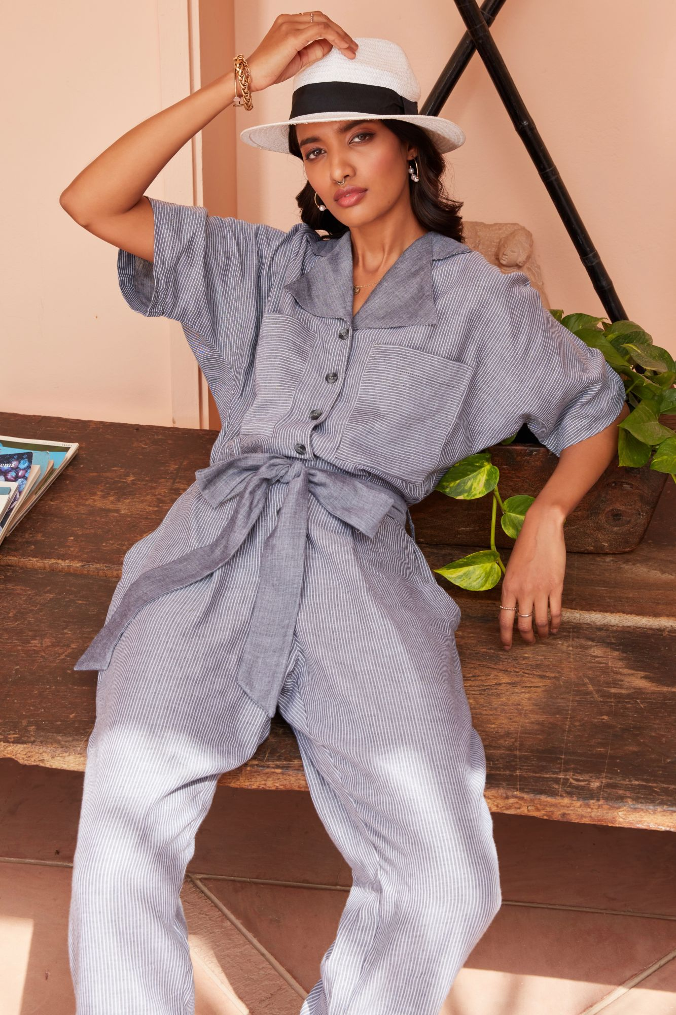 PONDICHERRY GREY CHAMBRAY FRONT BUTTON OPEING FULL LENGTH JUMPSUIT WITH SLEEVES