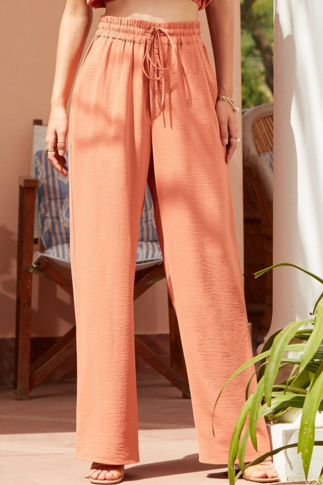 BARCELONA TANGERINE FULL LENGTH CASUAL PANTS WITH ELASTICATED WAIST AND POCKETS