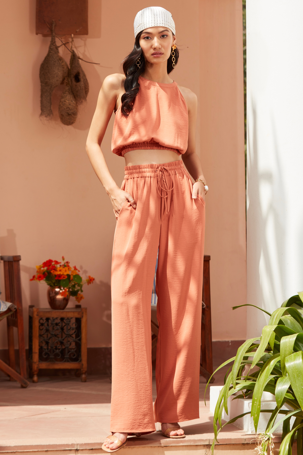 TANGERINE COLOUR CROP TOP AND PANT CASUAL CO-ORDINATE