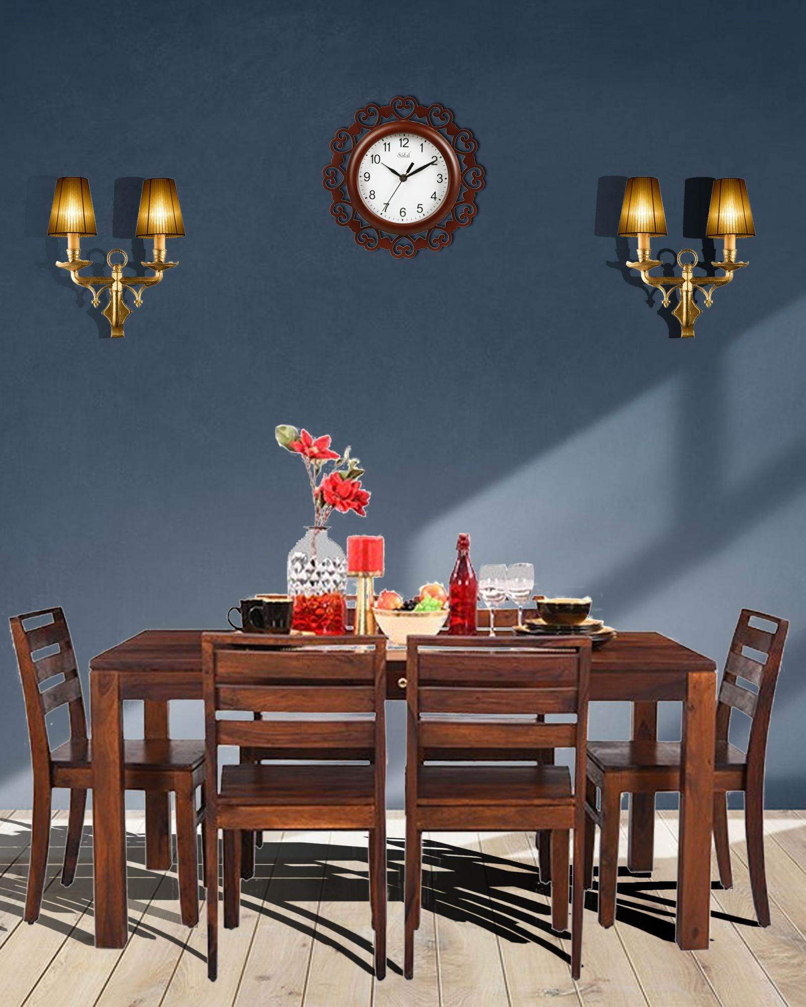 Six Seater Dining Set With Drawer  In Solid Wood (Teak)