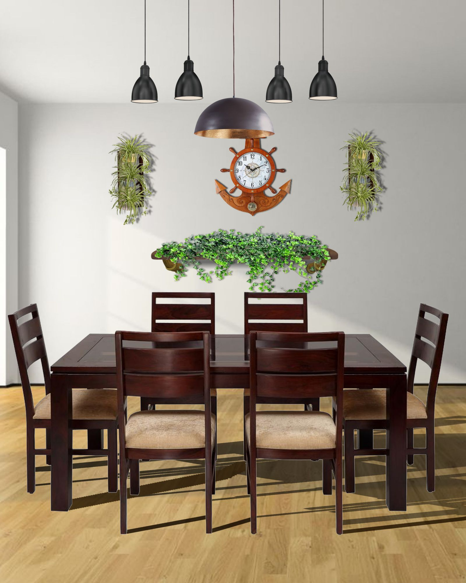 Solid woodeen Glass Top Dining Set