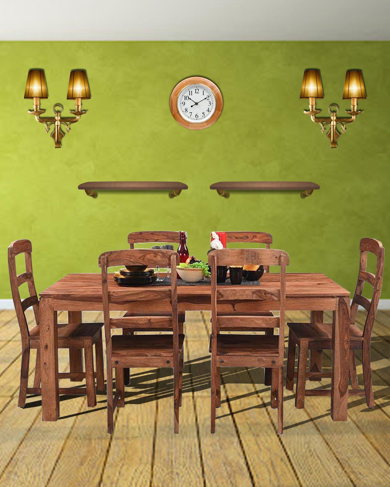 6 Seater  Diamond Dining in Sheesham wood (Honey)