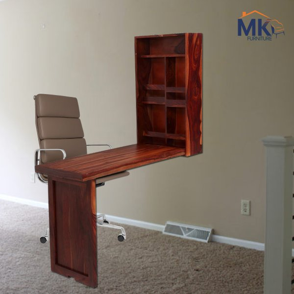 Solid Wood Study Table With Book Rack - Honey