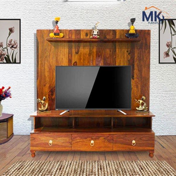 SOLID SHEESHAM WOOD TV & LED STAND(Honey)