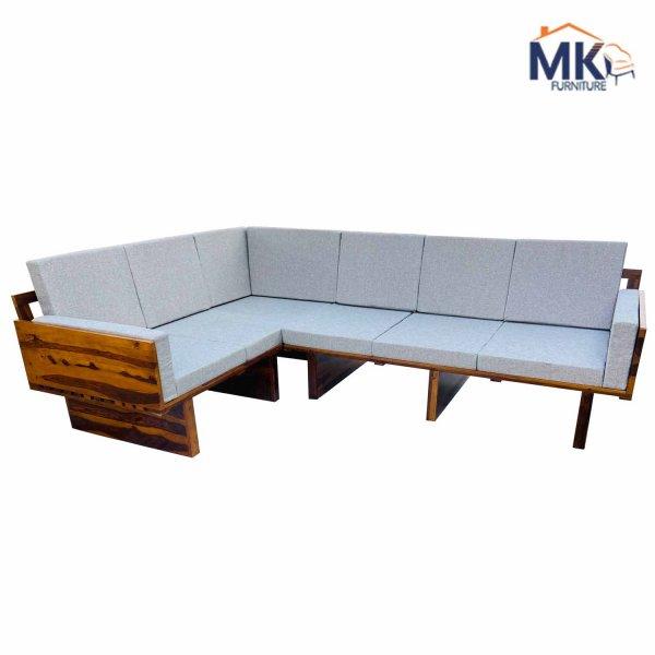 Audrey 6  Seater L Shape Corner Sofa Set In Honey Polish