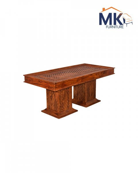 Sheesham  Solid Wood Brass Repousse Dining Table