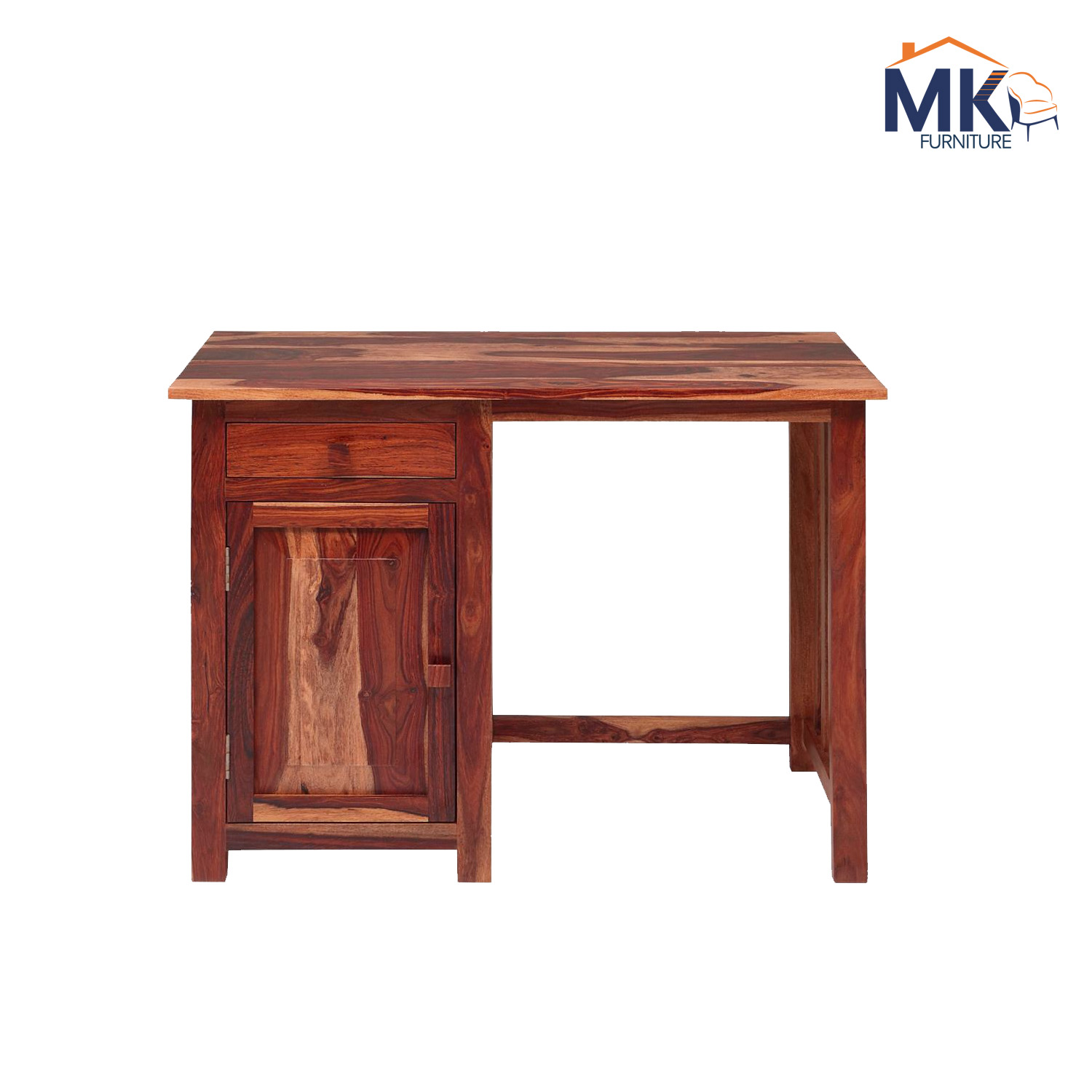 Solid Wood Study Table With Cabinet - Honey