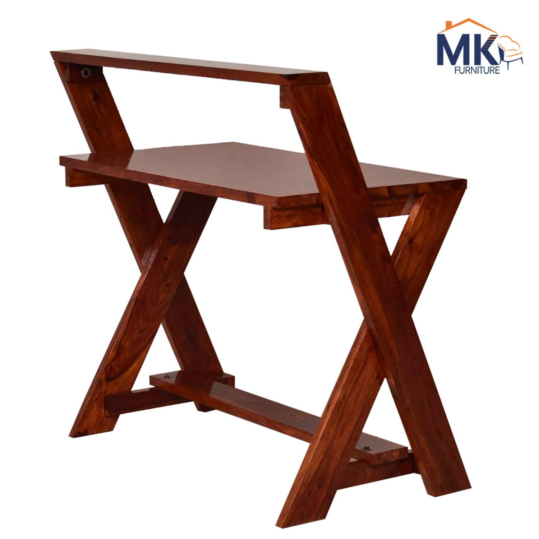 Mac Study Desk in Sheesham Wood Table - Honey