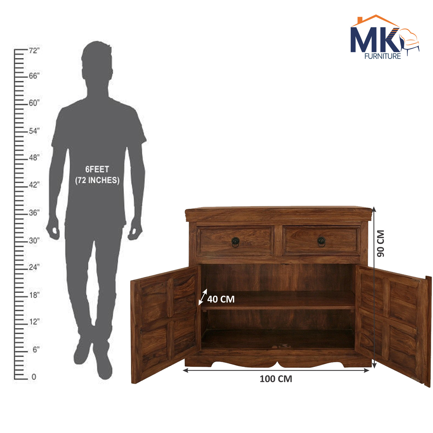 Royal Collection Wooden Sideboard  inHoney