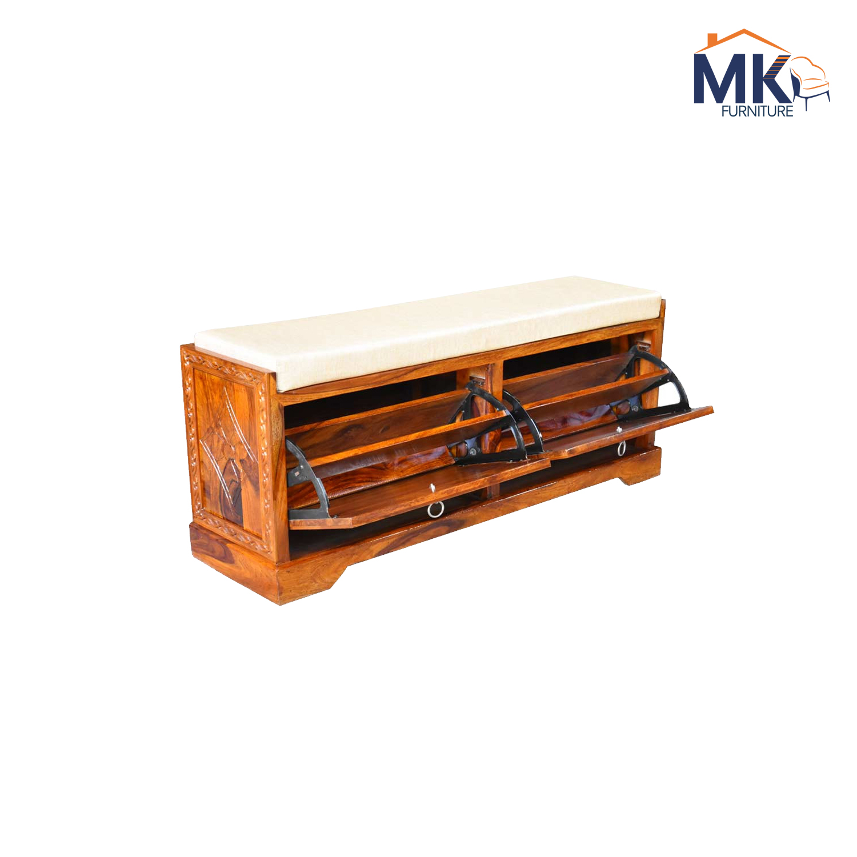 Sheesham Solid Wood Florito Carving Footwear Table