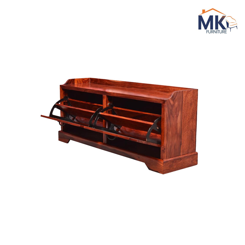 Shoe Cabinet in Sheesham Solid Wood In Honey