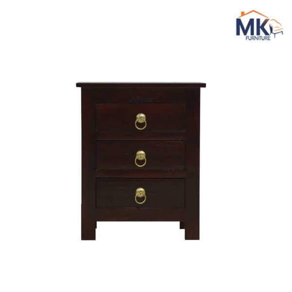 Solid Wood Bed Side Table In Walnut Polish