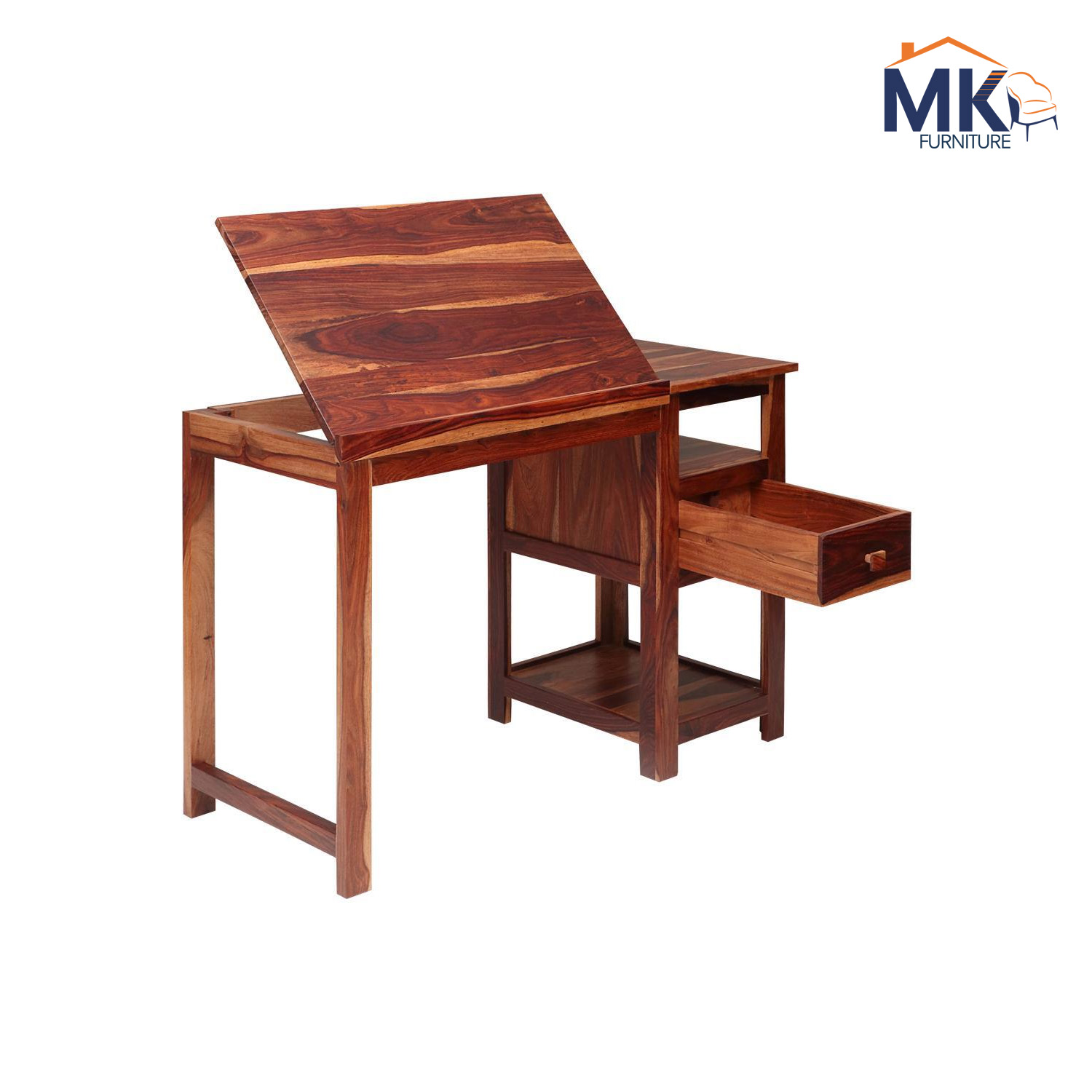 Solid Wood Study Table With Self