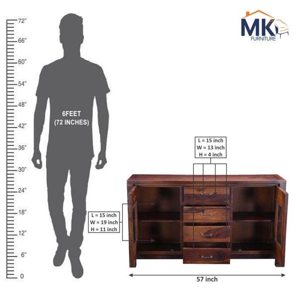 Solid Wooden Side Cabinet in Teak