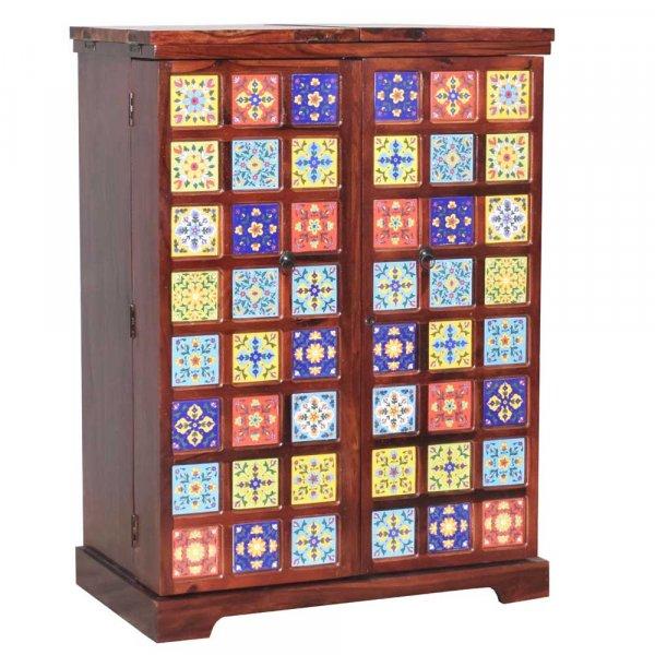 Boho Bar Cabinet Solid Sheesham Wood