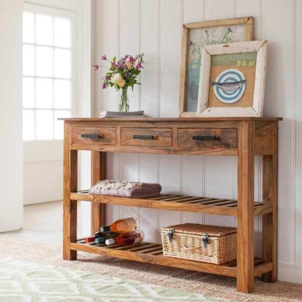 Wooden Console Table With 3 Drawer Honey