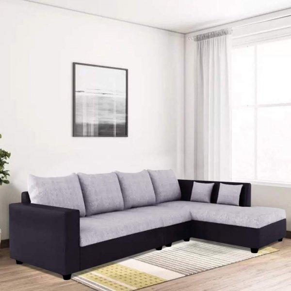 Six Seater L Shape Sofa Fabric in Light Grey-Black