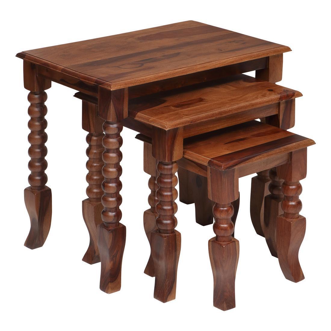 Solidwood Nesting Table Set Of 3 (Honey)