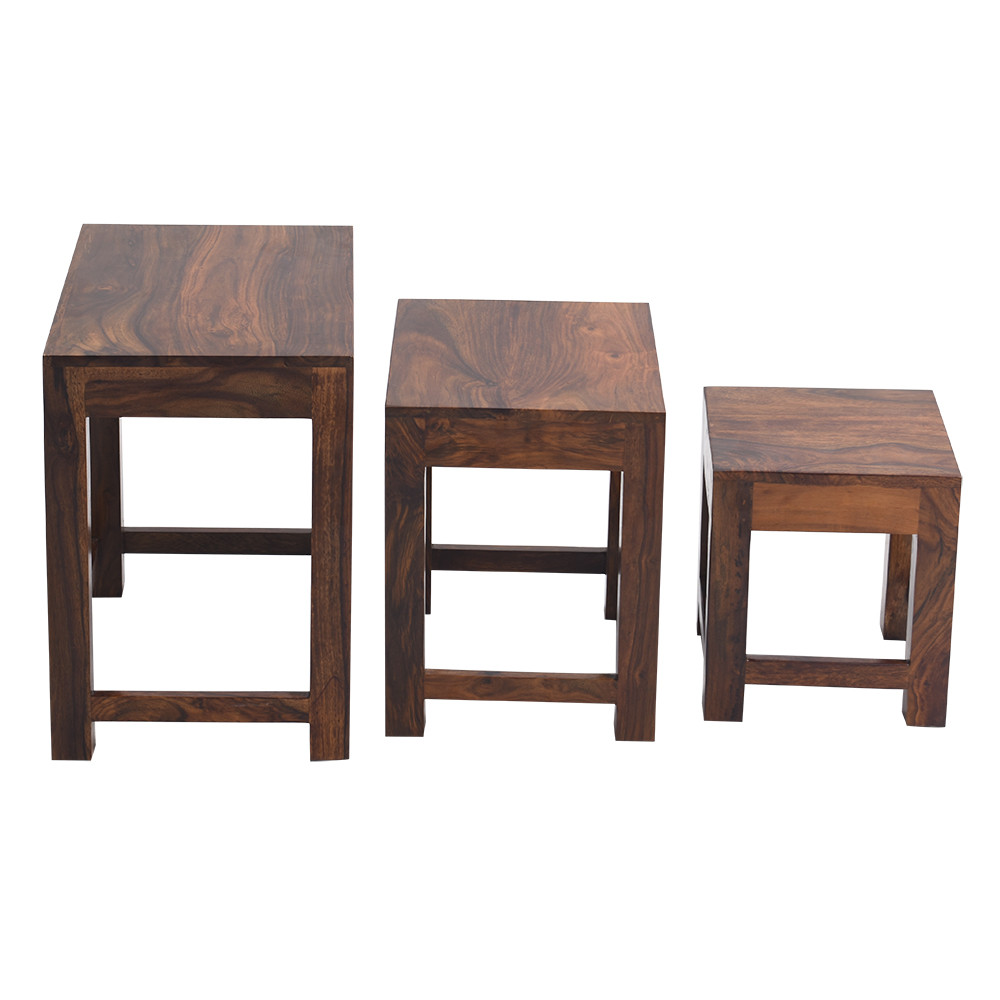 Nest Of Tables Solid Wood Stool set of 3
