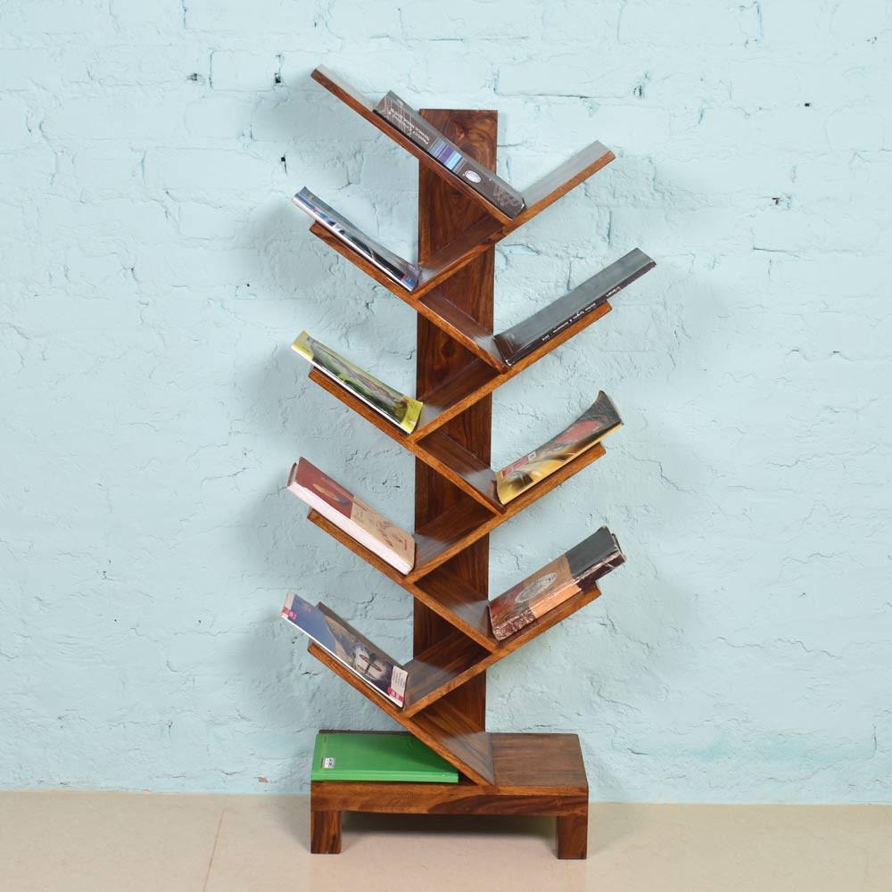 Zigzag Book Shelf Solid Wood Sheehsam