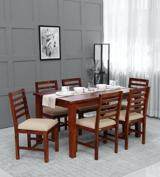 Solid Wood 6 Seater Dining Set in Honey  Finish
