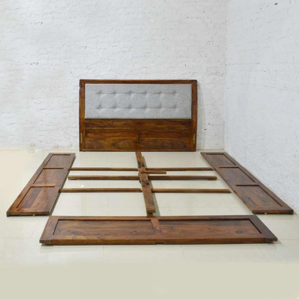 Solid Wooden Upholstered Bed With Storage