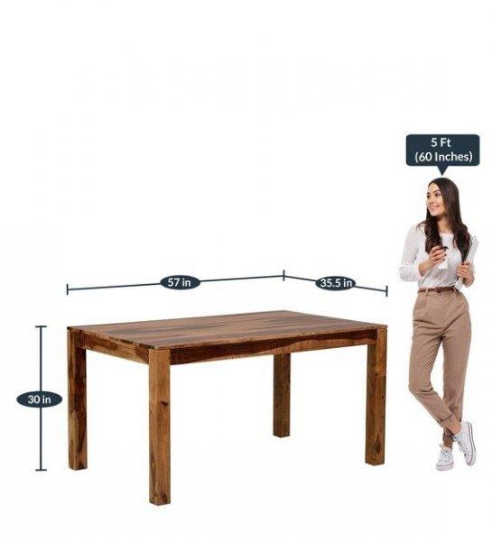 Novel Solid Wood 6 Seater Dining Set In Teak Finish