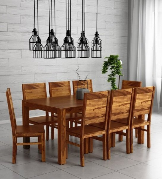 Solid Wood 8 Seater Dining Set in Honey Finish