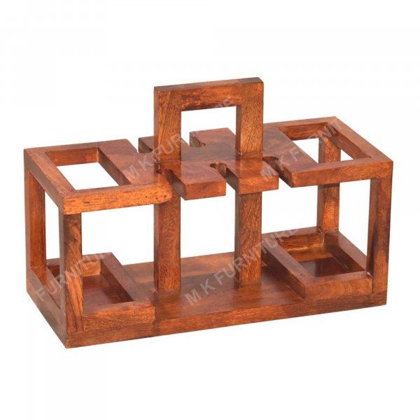 Solid Wood Basket shelf Design Bar