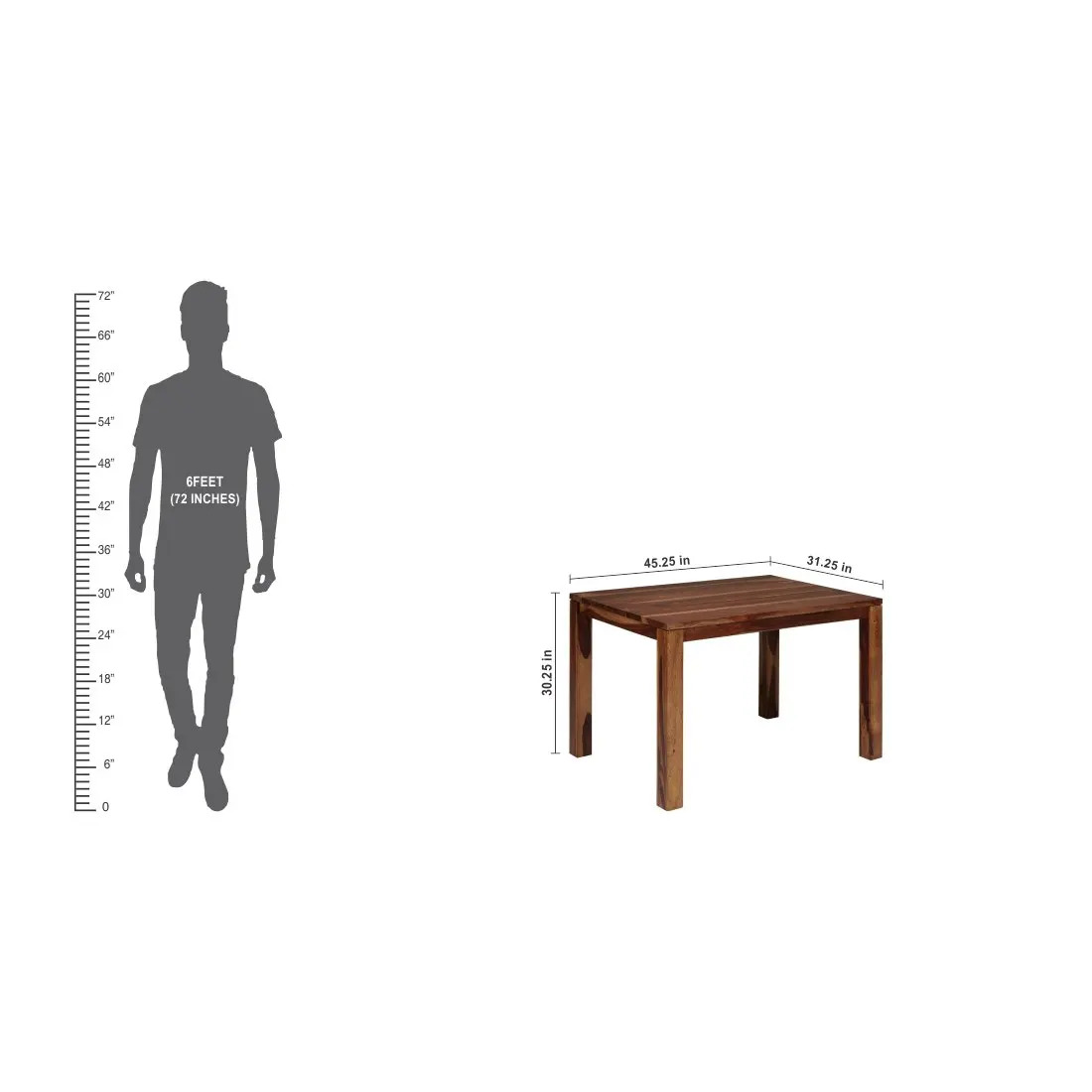 Solidwood 4 Seater Dining Table  (Honey)