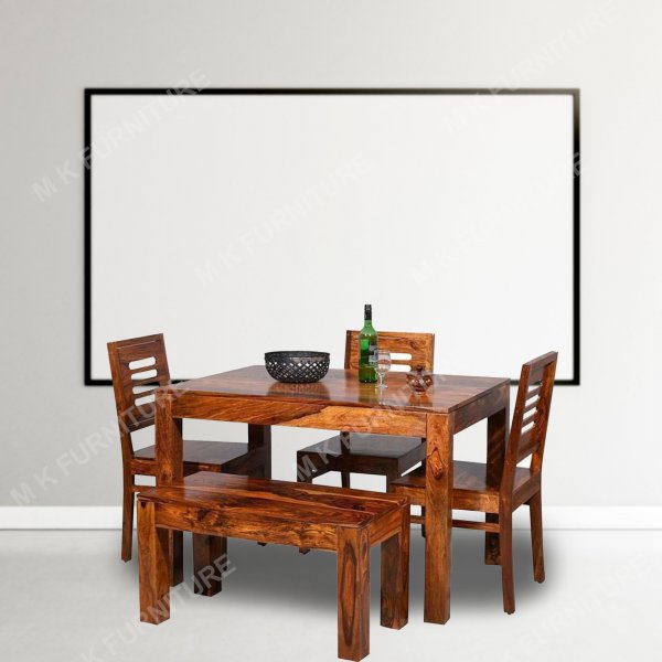 Wooden 4 Seater  Dining Table Set with 3 Chairs & 1 Bench