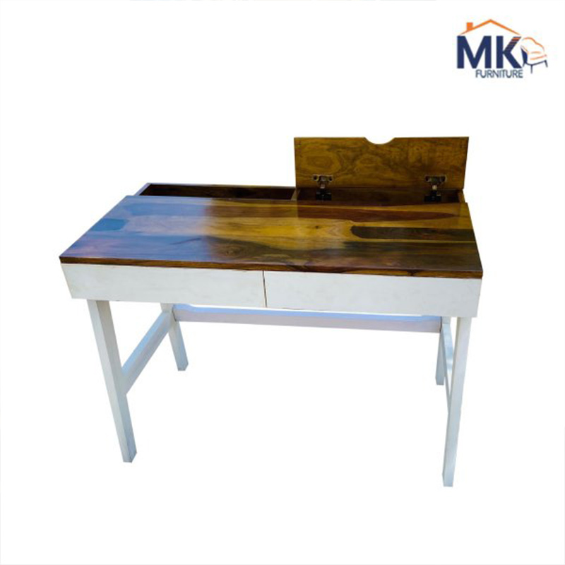 Ambra  Study Table With Frosty White Drawer In Honey Polish