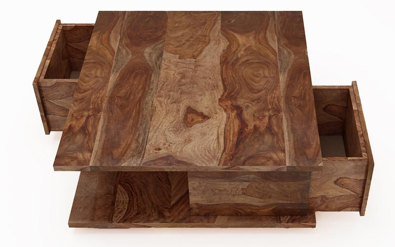 Center  Table With Storage  Solid  Sheesham Wood