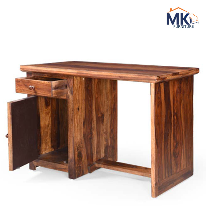 Solid Wooden Study Table With Cabinet - Honey